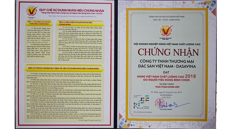 Chứng nhận hàng Việt Nam chất lượng cao do người tiêu dùng bình chọn 2018