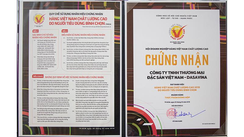 Chứng nhận hàng Việt Nam chất lượng cao do người tiêu dùng bình chọn 2019